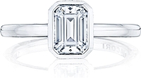 Tacori Bezel Set Emerald Cut Diamond Engagement Ring