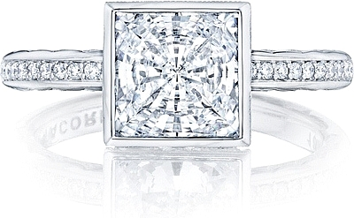 This image shows the setting with a 2.75ct princess cut center diamond. The setting can be ordered to accommodate any shape/size diamond listed in the setting details section below.