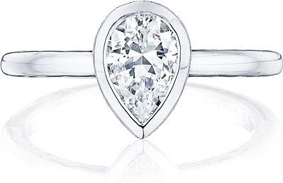 This image shows the setting with a .95ct pear cut center diamond. The setting can be ordered to accommodate any shape/size diamond listed in the setting details section below.