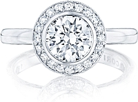 Tacori Bezel Set Round Brilliant Cut Pave Halo Engagement Ring