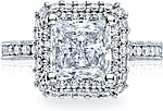 This image shows the setting with a 2.50ct princess cut center diamond. The setting can be ordered to accommodate any shape/size diamond listed in the setting details section below.