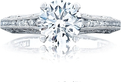 This image shows the ring with a 1.25ct round brilliant cut center diamond but can be ordered to accommodate any shape or size diamond listed below.