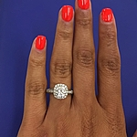 This image shows the ring with a 1.25ct round brilliant cut center diamond.