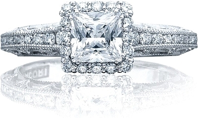 This image shows the ring with a .75ct princess cut center diamond but can be ordered to accommodate any shape or size diamond listed below.