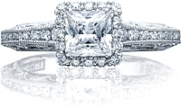 Tacori Channel & Pave Diamond Engagement Ring w/ Princess Bloom
