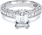 This image shows the setting with a 2.00ct emerald cut diamond. The setting can be ordered to accommodate any shape/size diamond listed in the setting details section below.
