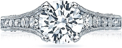 This image shows the setting with a 1.75ct round cut center diamond. The setting can be ordered to accommodate any shape/size diamond listed in the setting details section below.