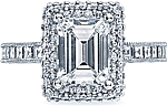 This image shows the setting with a 2.15ct emerald cut center diamond. The setting can be ordered to accommodate any shape/size diamond listed in the setting details section below.