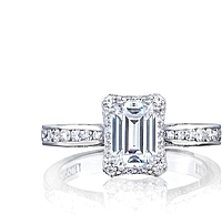 Tacori Channel-Set Emerald Cut Diamond Engagement Ring w/ Bloom