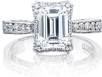 Tacori Channel-Set Emerald Cut Engagement Ring w/ Bloom
