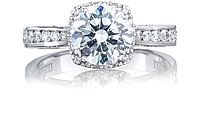 Tacori Channel-Set Engagement Ring w/ Cushion Bloom