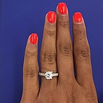 This image shows the setting with a 1.00ct round brilliant cut center diamond.