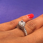 This image shows the setting with a .75ct round cut center diamond.