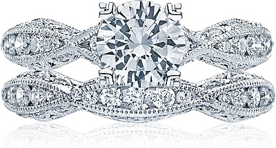 Tacori Criss-Cross Channel-Set & Pave Diamond Engagement Ring 2578RD