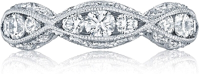 Tacori Criss-Cross Channel-Set & Pave Diamond Engagement Ring