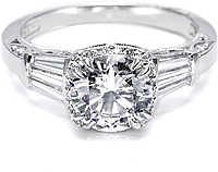 Tacori Diamond Baguette & Pave Engagement Ring