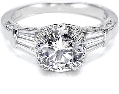 Tacori Diamond Baguette & Pave Engagement Ring 2625