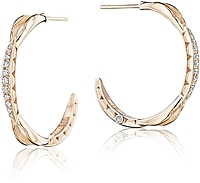 Tacori Diamond Crescent Hoop Earrings