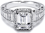 This image shows the setting with a 2.00ct emerald cut center diamond. The setting can be ordered to accomodate any shape/size diamond listed in the setting details section below.