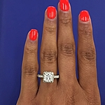 This image shows the setting with a .85ct princess cut center diamond.