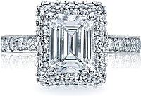 Tacori Double Row Emerald Cut Diamond Halo Engagement Ring