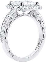 This image shows the setting with a 1.25ct princess cut diamond. The setting can be ordered to accommodate any shape/size diamond listed in the setting details section below.