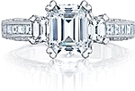 This image shows the setting with a 1.25ct emerald cut diamond. The setting can be ordered to accommodate any shape/size diamond listed in the setting details section below.