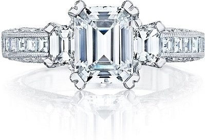 This image shows the setting with a 1.50ct emerald cut center diamond. The setting can be ordered to accommodate any shape/size diamond listed in the setting details section below.