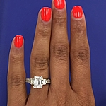 This image shows the setting with a 1.50ct emerald cut center diamond.