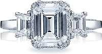 Tacori Engagement Ring with Emerald Cut and Pave-Set Diamonds