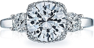 This image shows the setting with a 1.50ct round cut center diamond. The setting can be ordered to accommodate any shape/size diamond listed in the setting details section below.