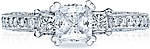 This image shows the setting with a .75ct princess cut center diamond. The setting can be ordered to accommodate any shape/size diamond listed in the setting details section below.