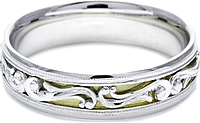 Tacori Engraved Wedding Band With Platinum and Yellow Gold-6.0mm