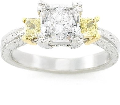 Tacori Fancy Yellow Princess Cut Diamond Engagement Ring HT2245