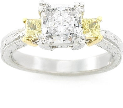 This image shows the setting with a 1.00ct princess cut center diamond ...