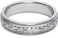 Tacori Hand-Engraved Mens Wedding Band -5.0mm