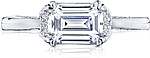 This image shows the setting with a 1.20ct emerald cut center diamond. The setting can be ordered to accommodate any shape/size diamond listed in the setting details section below.