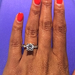 This image shows the setting with a 1.70ct round brilliant cut diamond.