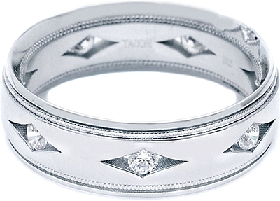 Tacori Mens Wedding Band With Hand Engraved Scroll Work -6.0mm HT2391