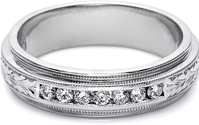 Tacori Mens Wedding Band With Hand Engraved Detail And Channel Set Diamonds 60mm U5042E