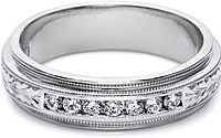 Tacori Mens Wedding Band With Hand Engraved Detail And Channel Set Diamonds -6.0mm