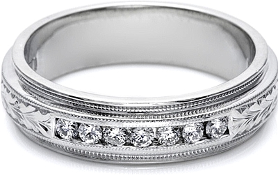 Tacori Mens Wedding Band With Hand Engraved Detail And Channel Set Diamonds 6 0mm U5042e