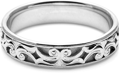 Tacori Mens Wedding Band With Hand Engraved Scroll Work 50mm HT2403