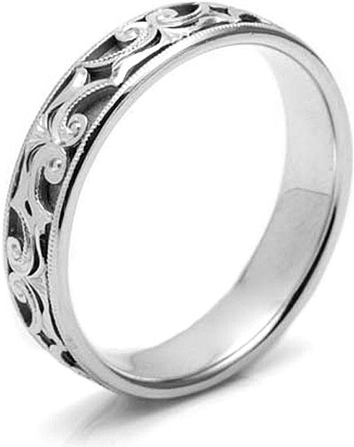 Tacori Mens Wedding Band With Hand Engraved Scroll Work 50mm