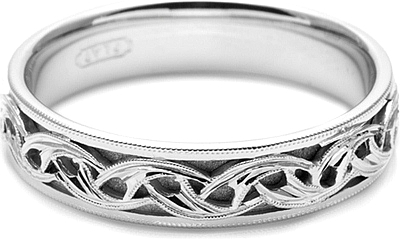Tacori Mens Wedding Band With Hand Engraved Scroll Work 50mm HT2404