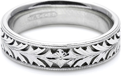 Tacori Mens Wedding Band With Hand Engraved Scroll Work 60mm HT2384