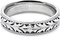 Tacori Mens Wedding Band With Hand Engraved Scroll Work -6.0mm