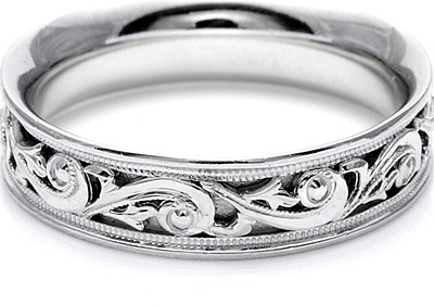 Tacori Mens Wedding Band With Hand Engraved Scroll Work 60mm HT2391