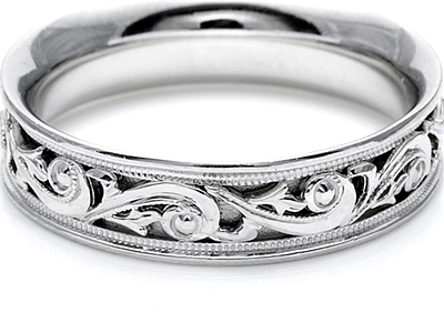 Tacori Mens Wedding Band With Hand Engraved Scroll Work 60mm