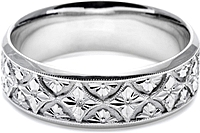 Tacori Mens Wedding Band With Hand Engraved Scroll Work -7.0mm